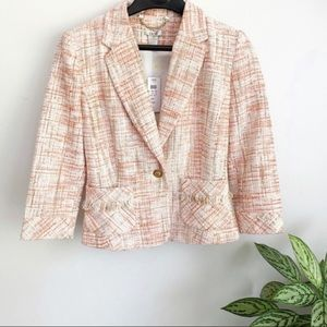 Cache Tweed Career Blazer Jacket Pink NWT